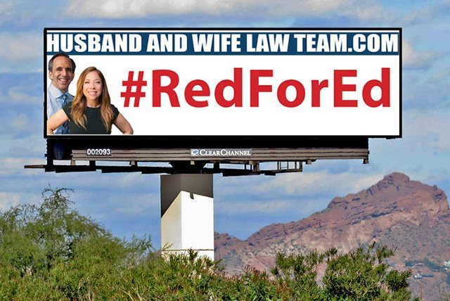 The Husband and Wife Law Team's #RedForEd Billboard
