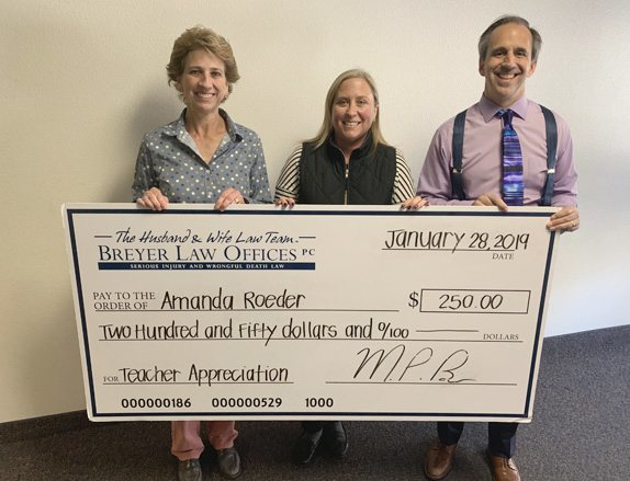 Taime Bengochea, Amanda Roeder with her giant check, and Mark Breyer!